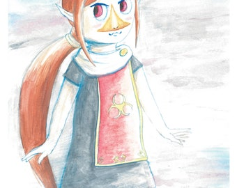 Medli Legend of Zelda Wind Waker Watercolor 8x10 Art Print
