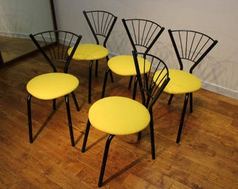 Set of 7 Mid-Century metal kitchen chairs from 1958 Brussels Expo .