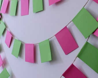 Pink and Green Wedding Banner, Nursery Garland, Wedding Garland, Pink and green