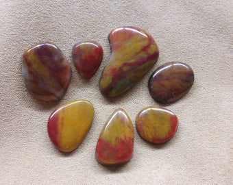 40% OFF Assorted Agate Freeform Cabochons/ backed/ red /orange/brown/cream shades