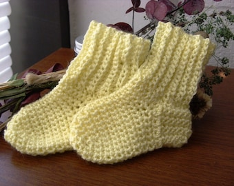Yellow Baby Socks - Baby Crew Socks - Yellow Crew Socks - Crochet Baby Socks - Crochet Crew Socks - Crochet Yellow Socks - 0-3 months