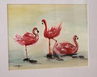 Trio of Flamingos, Gouache ORIGINAL art