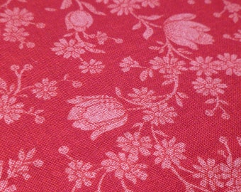 Tulips and Daisies - Destash Fabric - Cotton - Cranberry