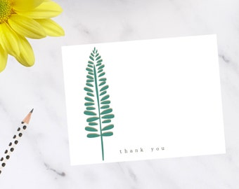 Personalized, stationery, Modern Fern Note Cards