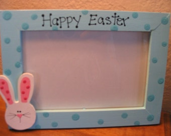 Happy Easter Frame - personalized holiday bunny family photo picture frame