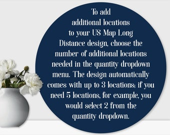 Additional Locations. This listing will be used in connection with your US Map Long Distance design (purchased separately)