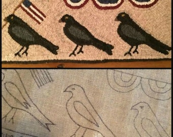 Hooked Rug Pattern Crows on Parade Linen