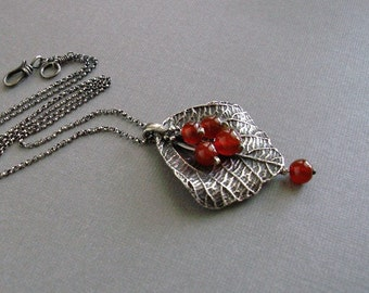 Silver leaf pendant with carnelian beads, leaf necklace, gift for her, fine silver necklace, sterling silver chain, fine silver jewelry