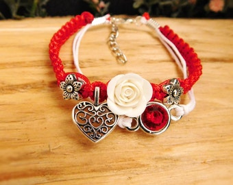 Red jewelry Girlfriend|gift|for|her Anniversary gift Womens jewelry Roses bracelet White flowers Charm bracelet Heart jewelry Trending