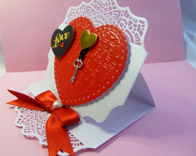 Valentine Card, Wedding Card, Anniversary Card, Greeting Card, Key to My Heart, Personalised, 3D Decoupage Easel Card, Red and White