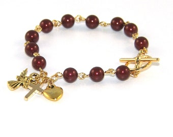 Recovery 12 Step Bracelet / Sobriety Gift / Burgundy Pearls & Angel Charm