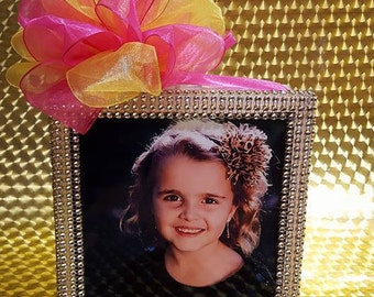 Custom Lighted PICTURE/MEMORIAL Glass Block with Bling and Bow