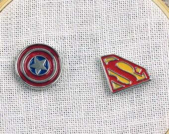 Super Hero Needle Minders | American Hero Shield Needle Holder | Magnetic Superman or Captain America Glazed Enamel Needle Nanny
