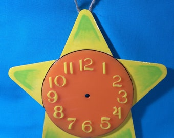 Yellow and Orange Star Clock