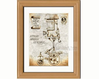 Steampunk Art, Steampunk Print, Steampunk vehicle, Vintage car, Fantasy art, Vintage Machine, Gifts for Men, House warming gift,Fantasy Gift