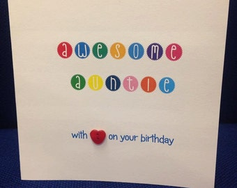 Awesome Auntie - with love on your birthday CARD