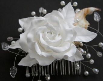 Wedding flower comb, Bridal hair comb, Bridal Hair flower, Bridal hair accessory, Bridal rose comb, Wedding comb, Bridal headpiece