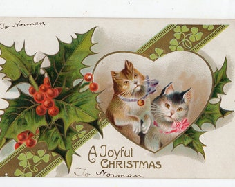 Christmas Cats, embossed Postcard, vintage Cats,  antique postcard holly, berries, kittens