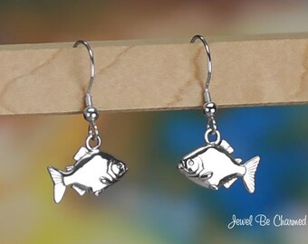 Sterling Silver Piranha Earrings Pierced Fishhook Earwires Solid .925