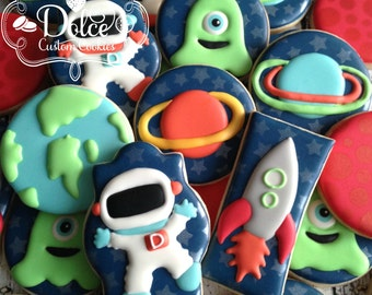 Space Astronaut Rocket Ship Alien Planet Birthday Cookies