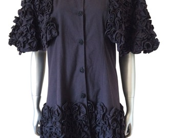 Vintage Ruffled Black Dress