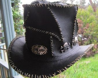 Black leather Guns 'n Roses heavy Metal band gothic steampunk Ashba style DJ Top Hat w. random stitching and skull & crossbone badges
