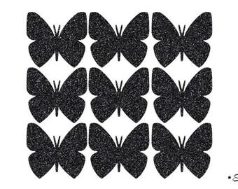 9 butterflies black paillete applique Thermo flex