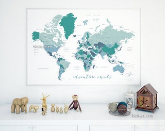 Kids pinboards etsy au printable kids gift 30x20 36x24 printable world map with capitals cities gumiabroncs Image collections