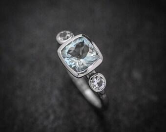 14k White Gold Ring in Aquamarine and White Sapphire Cushion Cut Gemstone Ring // SIZE 6