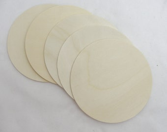 "5 large Wooden 4"" Circles, 4 inch wooden disc, 1/8"" thick unfinished DIY"