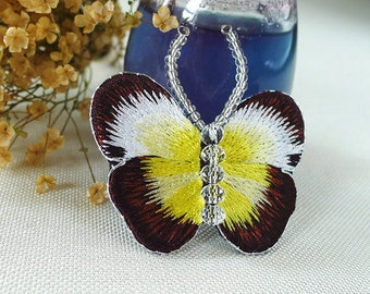 The pure handicraft manufacture embroider flower butterfly lady brooch brooch gift daily match decoration