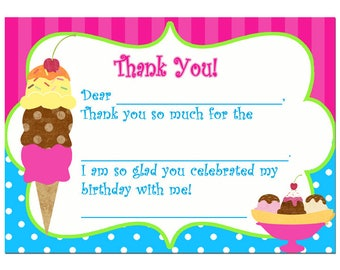 Ice Cream Thank You Notes Printable - Instant Downloaad - Ice Cream Brights Collection