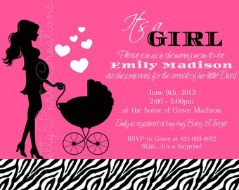 ZEBRA baby shower invitation - any color available - YOU PRINT