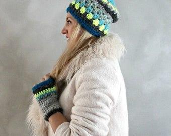 Sale Beanie and Gloves Set- Crochet Beanie- Fingerless Gloves- Gift Set- Womens Winter Hat- Ski Hat- Neon Yellow Grey Blue- Gift for Her- Gi