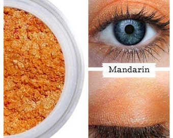 Mandarin Orange, Eyeshadow,  Mandarin Eye Shadow, Orange Make Up, Mineral Makeup, Orange Eye Color, Vegan Makeup, Cruelty Free, Shimmer