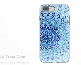 Blue Zen Mandala - Artistic iPhone 7 PLUS - 8 PLUS Tough Case - Dual Layer Protection - Cloud Mandala