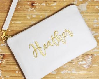 Personalized Linen Wristlet/Clutch - Iphone/Phone Wristlet - Bridesmaid Clutch- Monogrammed