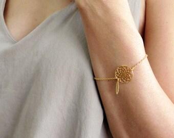 Dream Catcher Bracelet, Gold Bracelet, Woodland Jewelry, Feather Bracelet, Boho Jewelry, Bridesmaids Gifts, Bridal Jewelry, Mandala Bracelet