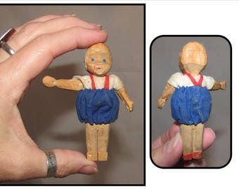 Vintage Tiny Hand Carved Wooden Boy Doll, German, miniature toy doll