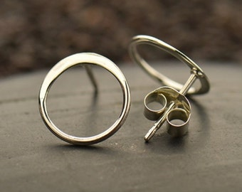 Sterling Silver Open Circle Post Earrings