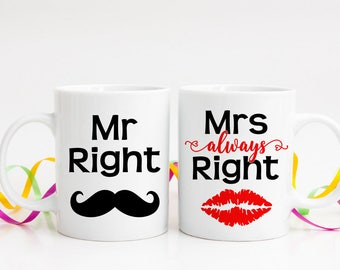Mr Right and Mrs Always Right Mugs - Couples Mugs - Mr and Mrs Mugs - His and Hers Mugs -  Funny Coffee Mugs - Set of Two Mugs