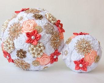 Wedding Toss bouquet, Coral bouquet, Wedding Accessories, Wedding set.
