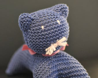 Mister Moustache, blue KNITTED CAT, CUDDLY cat, Baby soft toy, Baby Toy, French plush, French handmade cuddly toy, Baby gift!