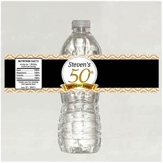 Water Bottle Name Tags: Personalized 50th Birthday Water Bottle Labels Digital File