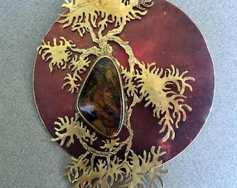 Kengai Cascade with African Pietersite  gemstone - Miniature Metal Wall Art
