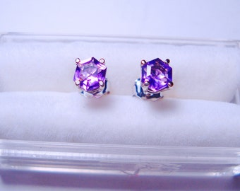 Natural Twin Hexagonal Shape Amethysts In 14K Gold Ear Studs!!