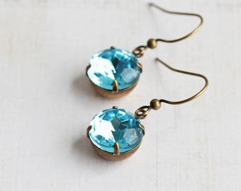 Light Blue Earrings, Round Rhinestone Earrings in Antiqued Brass, Aqua Blue Dangles (Choose Your Hook Style)