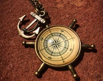Nautical Compass Ship Wheel & Anchor Resin Pendant Necklace