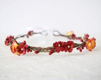 Autumn Cherry Blossom Flower Crown, red flower crown, woodland wedding, boho wedding, flowergirl garland, floral crown, bridesmaid ANNABELLE