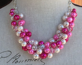 Pink chunky Pearl necklace,   Perfect bridesmaid gift